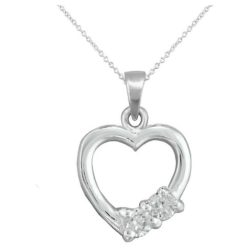 "Girls' Sterling Silver Cubic Zirconia Heart Pendant 15"" Plated Chain-White - image 1 of 1"