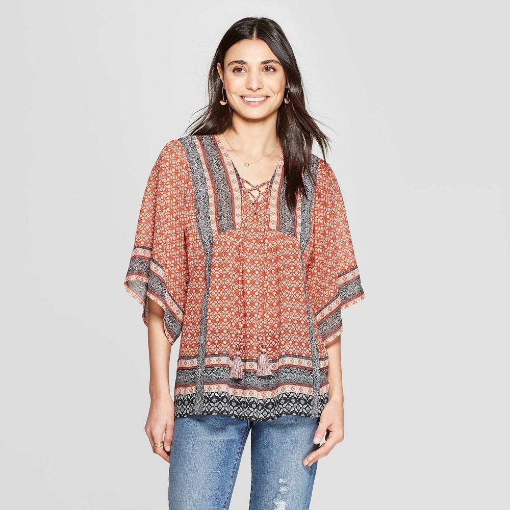 Women's 70s Shirts, Blouses, Hippie Tops Womens Short Sleeve V-Neck Top - Knox Rose Orange L Gray $24.99 AT vintagedancer.com