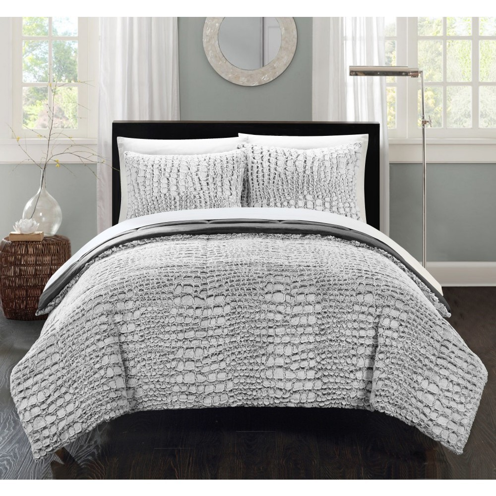 Image of 3pc Queen Caimani Comforter Set Gray - Chic Home Design