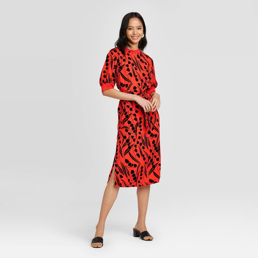 Women's Floral Print Short Sleeve High Neck A-Line Dress - Who What Wear Red L was $36.99 now $25.89 (30.0% off)