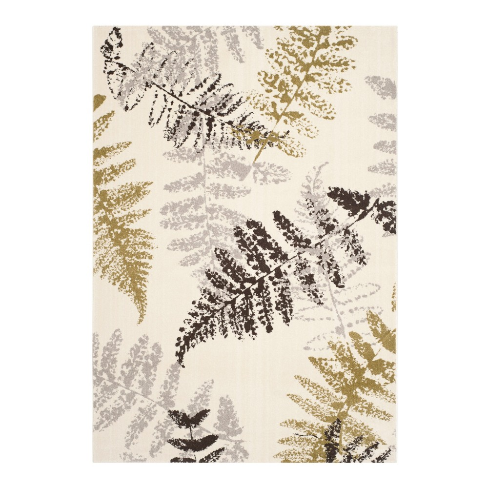 Ivory Leaf Loomed Accent Rug 4'X5'7 - Safavieh