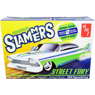"""Skill 1 Snap Model Kit 1958 Plymouth Street Fury """"Slammers"""" 1/25 Scale Model by AMT"""