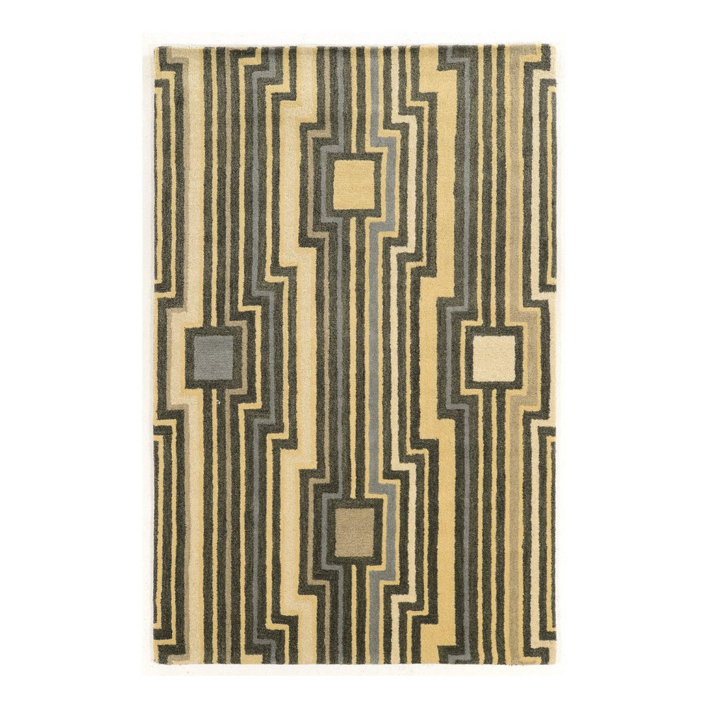 Gray Geometric Loomed Area Rug 5'X8' - Linon
