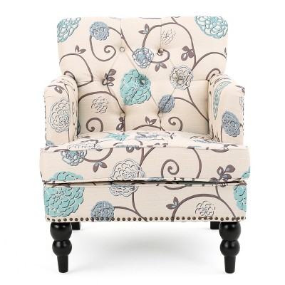 Harrison Tufted Club Chair - White/Blue - Christopher Knight Home
