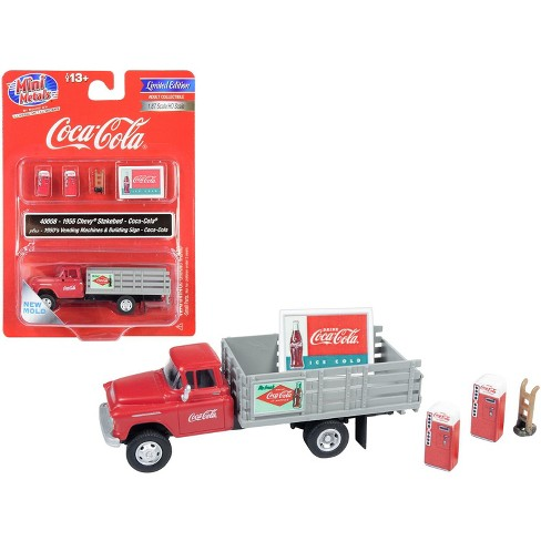 """1955 Chevrolet Stakebed Truck Red and Gray with Accessories """"Coca-Cola"""" 1/87 (HO) Scale Model by Classic Metal Works - image 1 of 1"""