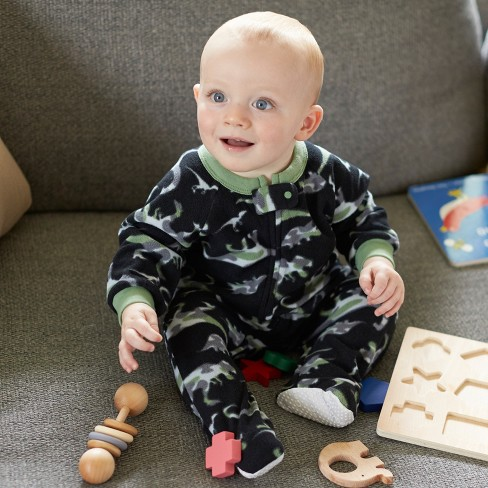 cc5cfd262 Gerber Baby Boys  2pk Dino Camo Micro Fleece Blanket Sleeper - Gray ...