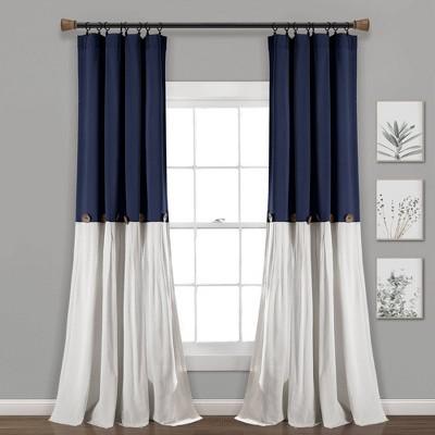 "95""x40"" Linen Button Light Filtering Window Curtain Panel Navy/White - Lush Décor"