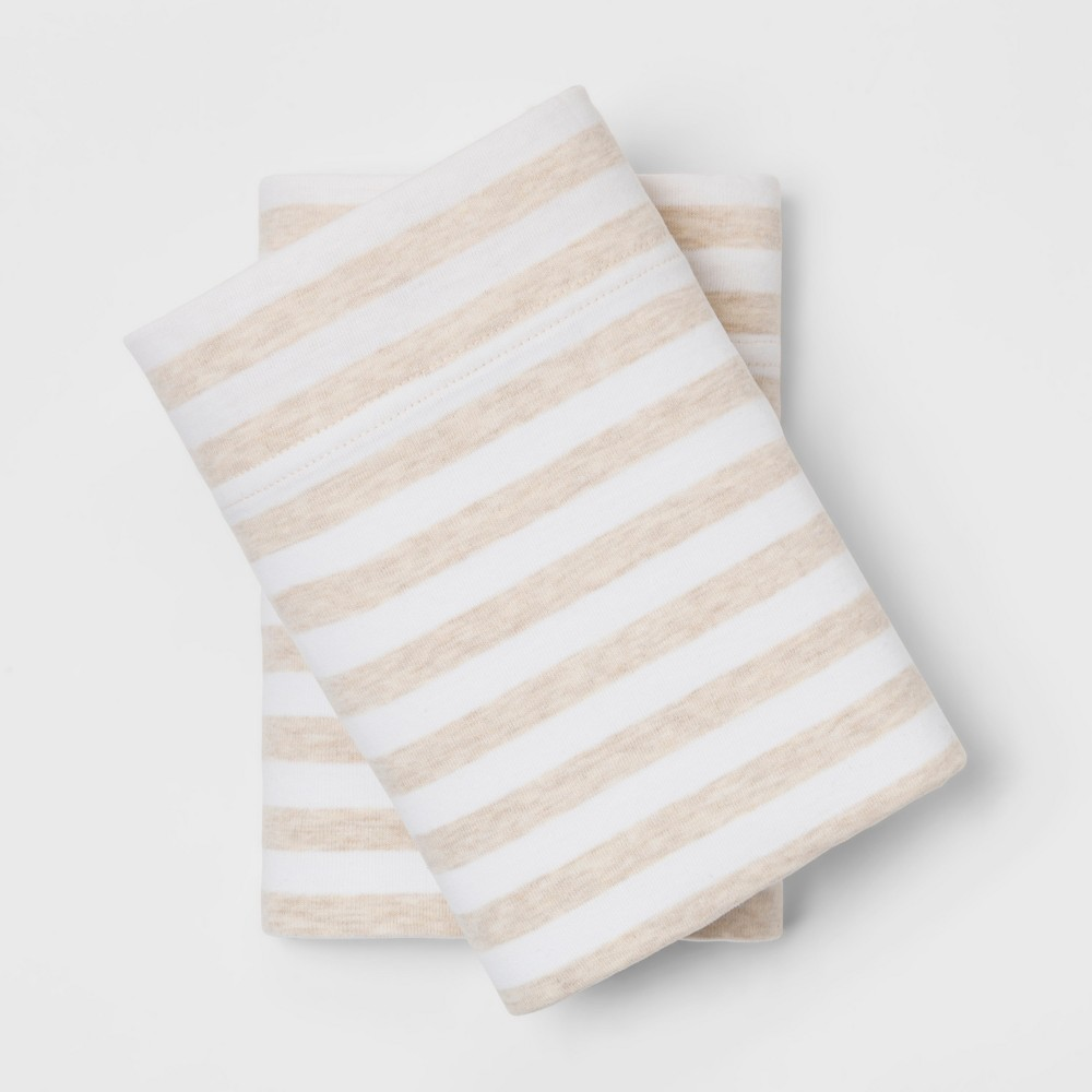 Standard Stripe Cosy Jersey Pillowcase Set Oatmeal/White - Threshold was $12.99 now $6.49 (50.0% off)