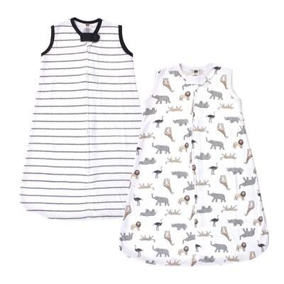 Hudson Baby Infant Cotton Sleeveless Wearable Sleeping Bag, Sack, Blanket, Modern Neutral Safari
