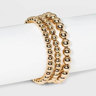 Brass Bead Bracelet 3pc - A New Day™ Gold