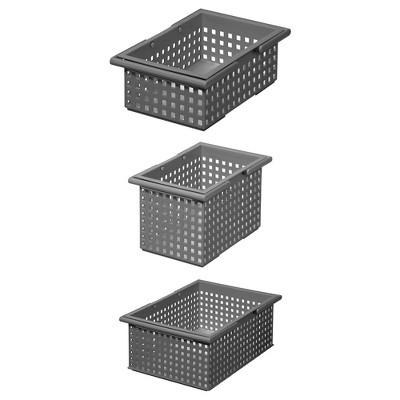 Like-It Universal Stacking Plastic Storage Organizer Basket Set, Gray