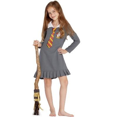 Harry Potter Pajama Girls Hermione Gryffindor Uniform With Tie Fleece Nightgown