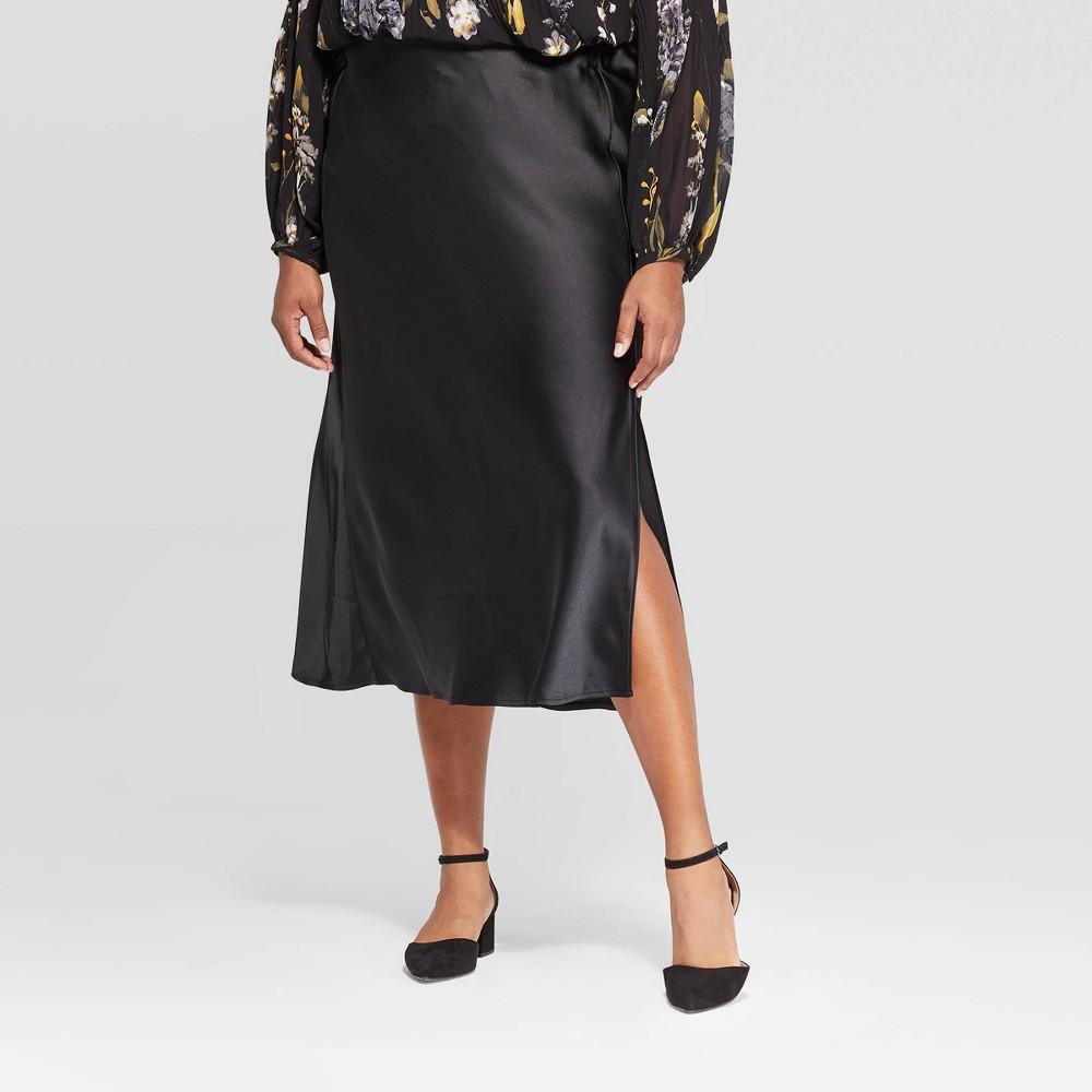Image of Women's Plus Size Midi Satin Skirt - A New Day Black 1X, Women's, Size: 1XL