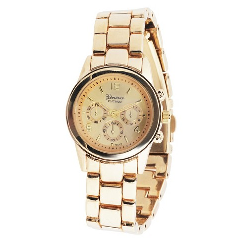Women's Geneva Platinum Classy Round Face Polished Link Watch - Gold - image 1 of 3