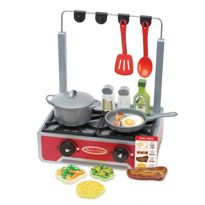 Melissa & Doug 17-Piece Deluxe Wooden Cooktop Set With Wooden Play Food, Durable Pot and Pan