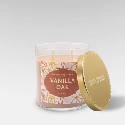 15.1oz Lidded Glass Jar 2-Wick Candle Vanilla Oak - Opalhouse™