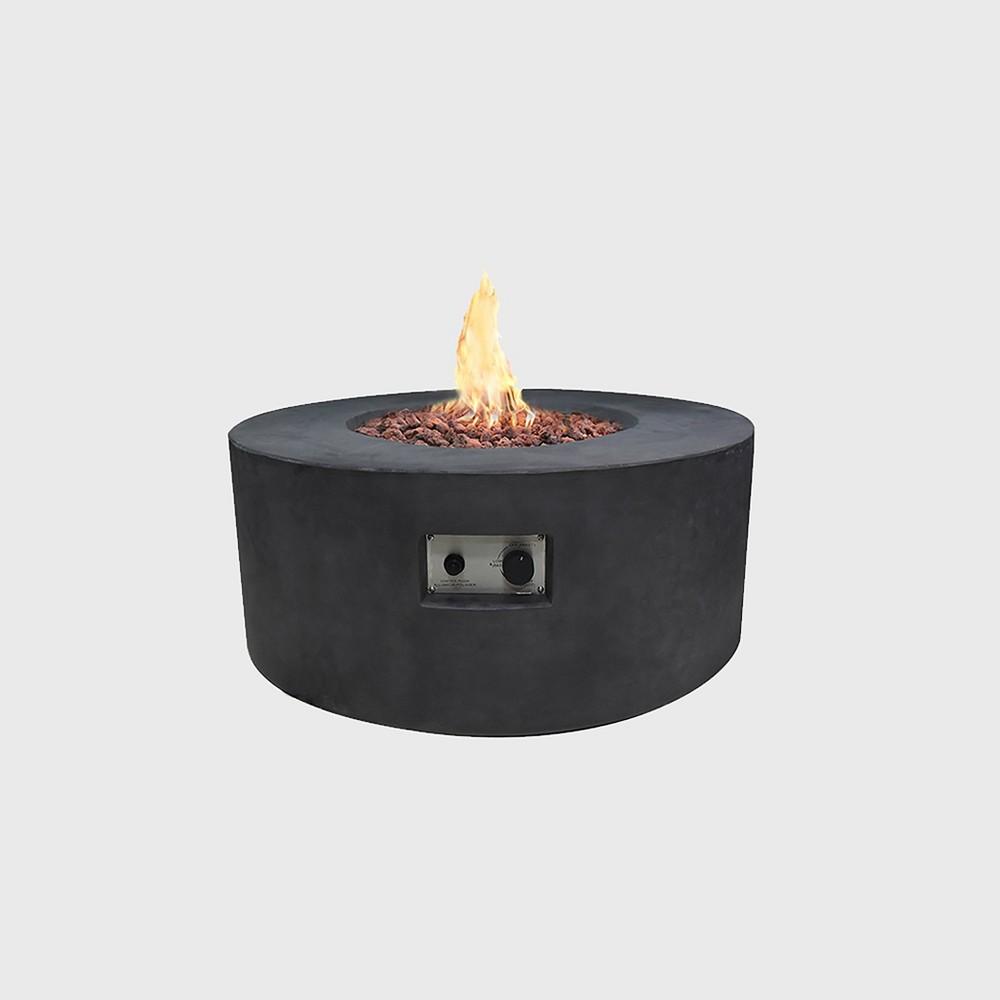 Venice Round Concrete Natural Gas Fire Table - Slate Black - Modeno