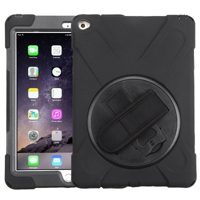 MYBAT For Apple iPad Air 2 Black Wristband Hard Rubberized Case Cover w/stand