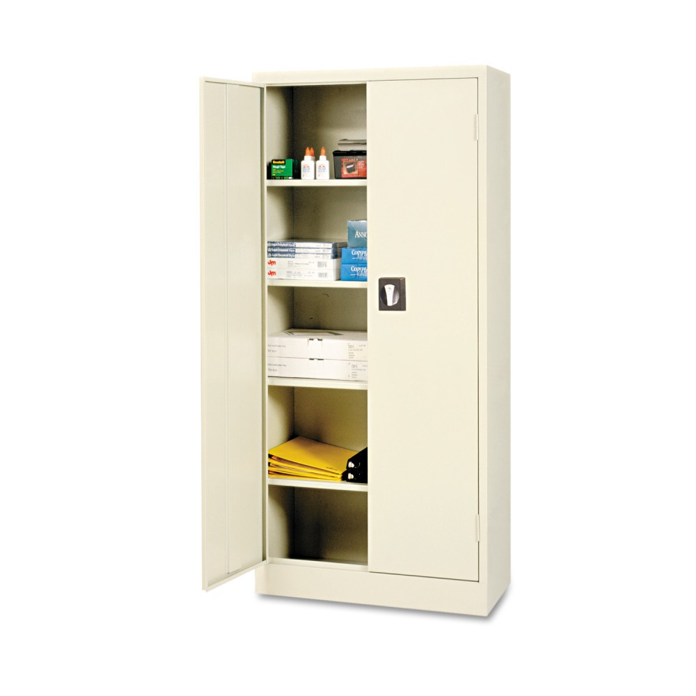 Image of Alera Space Saver Storage Cabinet, Four Shelves, 30w x 15d x 66h, Putty, Gray