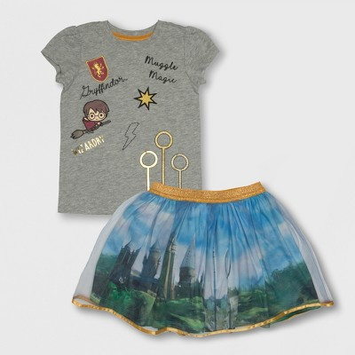 Toddler Girls' Harry Potter Hogwarts Keeper Patches Top and Bottom Set - 18M
