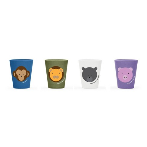 Red Rover 8oz 4pk Bamboo Kids' Animal Cups - image 1 of 4