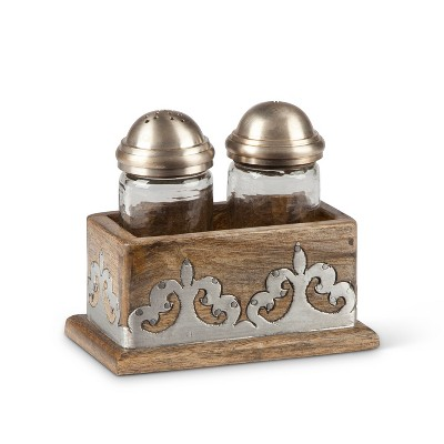 GG Collection Heritage Collection Wood and Metal Inlay Salt & Pepper Set