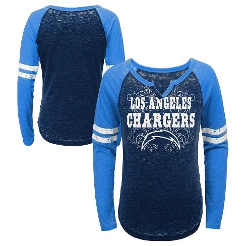 5b466ab3d07 NFL Los Angeles Chargers Girls' Fashion Team Alt Color Burnout Long Sleeve  T-Shirt : Target