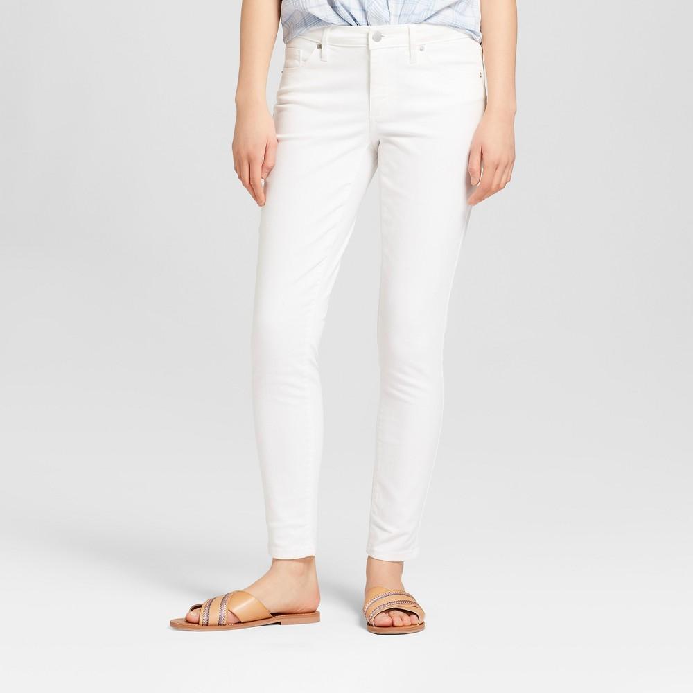 Women's Mid-Rise Skinny Jeans - Universal Thread White 0 Long
