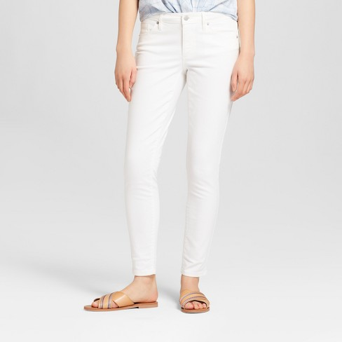 Women's Mid-Rise Skinny Jeans - Universal Thread™ White - image 1 of 3