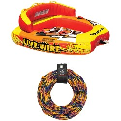 AIRHEAD AHLW-2 Live Wire 2 Inflatable 1-2 Rider Boat Towable Tube with Tow Rope