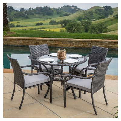 San Pico 5pc Wicker Patio Dining Set with Cushions - Gray - Christopher Knight Home