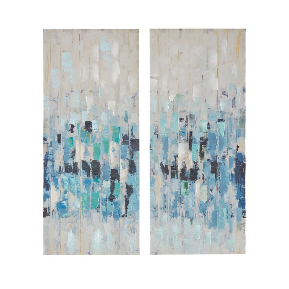 Image of 2pc Impression Hand Embellished Canvas Set Blue