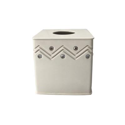 Diamond Wave Tissue Box Cover White - Popular Bath
