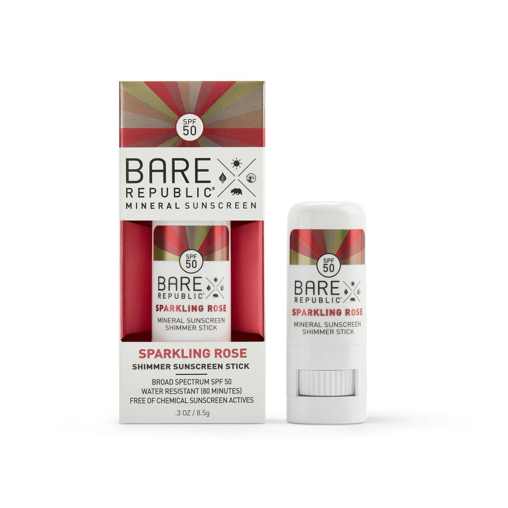 Image of Bare Republic Mineral Shimmer Rose Gold Sunscreen Stick - SPF 50 - .3oz