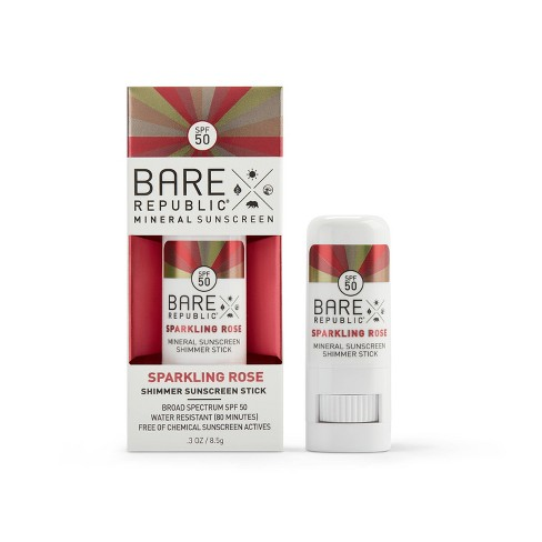 Bare Republic Mineral Shimmer Rose Gold Sunscreen Stick - SPF 50 - .3oz - image 1 of 3