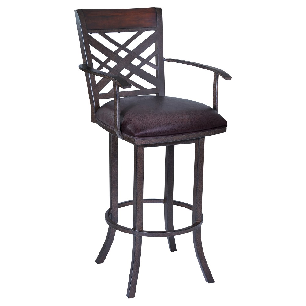 30 Tahiti Faux Leather Barstool With Arms - Brown - Armen Living