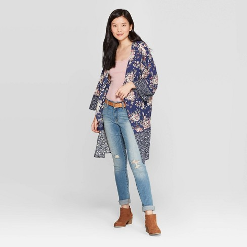 ded4d527054 Women's Printed 3/4 Sleeve Lace-Up Back Kimono Jacket - Knox Rose™ Blue