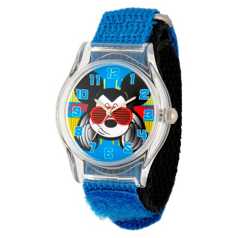 Boys' Disney Mickey Mouse Plastic Watch - Blue - image 1 of 2