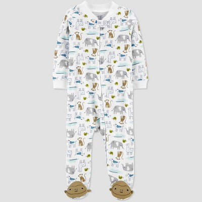 Baby Boys' Animal All Over Print 1pc Pajama - Just One You® made by carter's White 9M