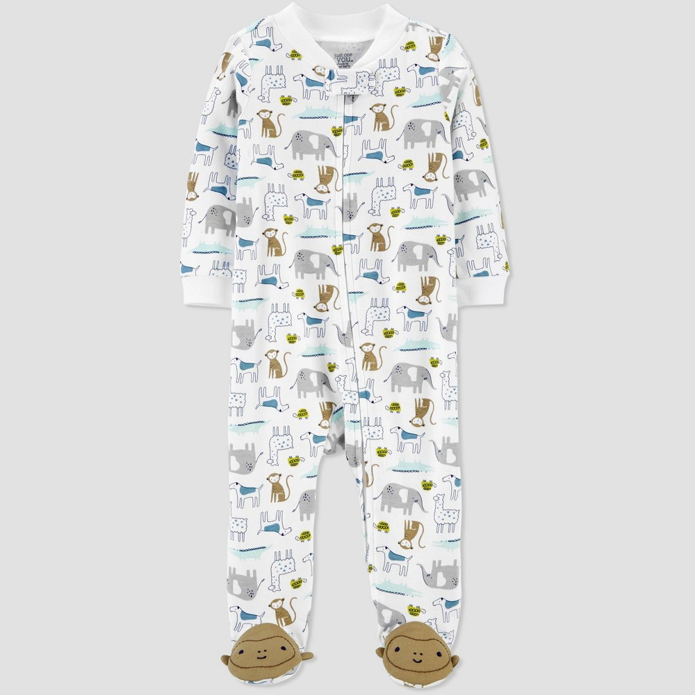 Image of Baby Boys' Animal All Over Print 1pc Pajama - Just One You made by carter's White 3M, Boy's