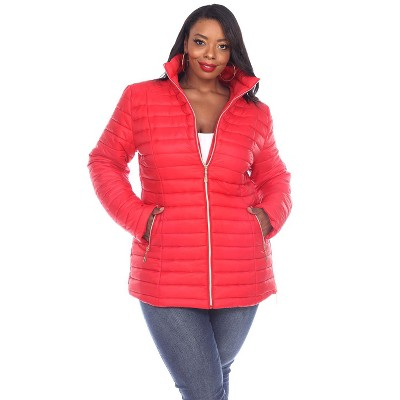 Women's Plus Size Puffer Coat - White Mark