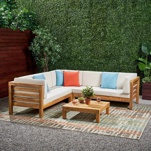 Oana 4pc Acacia Wood Patio Sectional Chat Set w/ Cushions - Christopher Knight Home - image 1 of 4