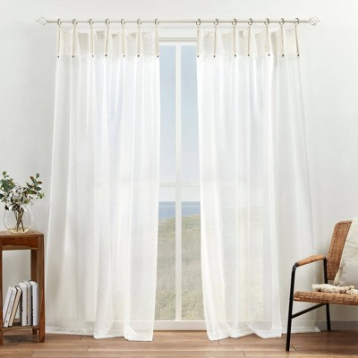 Set of 2 Hawkins Bronze Ring Top Sheer Curtain Panels Natural - Exclusive Home