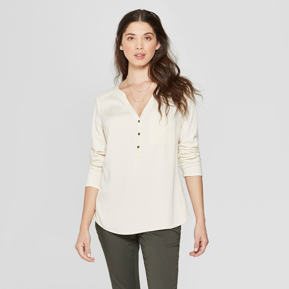 Women's Long Sleeve Blouse - Universal Thread White XL