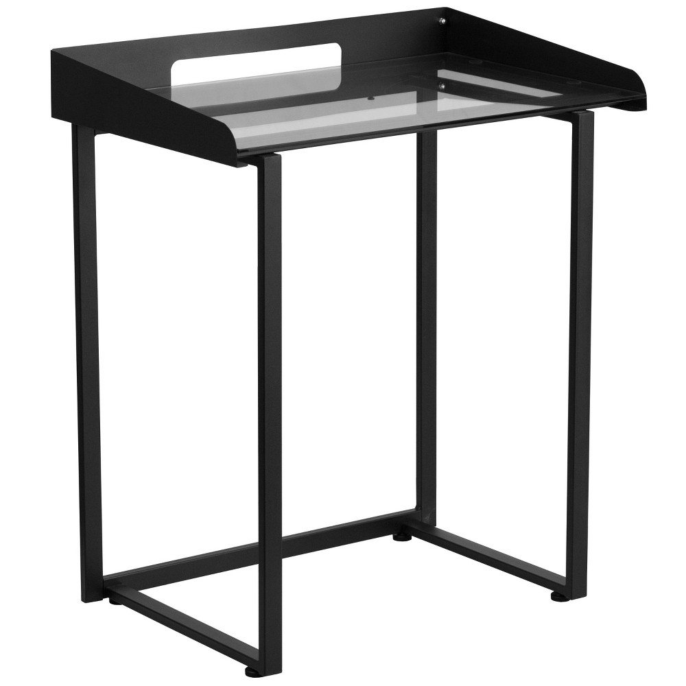 Image of Contemporary Desk with Tempered Glass and Frame - Clear Glass Top/Black Frame - Riverstone Furniture Collection, Black Silver