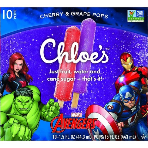 Chloe's Marvel Avenger's Cherry & Grape Frozen Fruit pops - 10ct/15oz - image 1 of 4