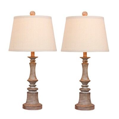 2pk Cottage Weathered Resin Table Lamps Gray - Fangio Lighting