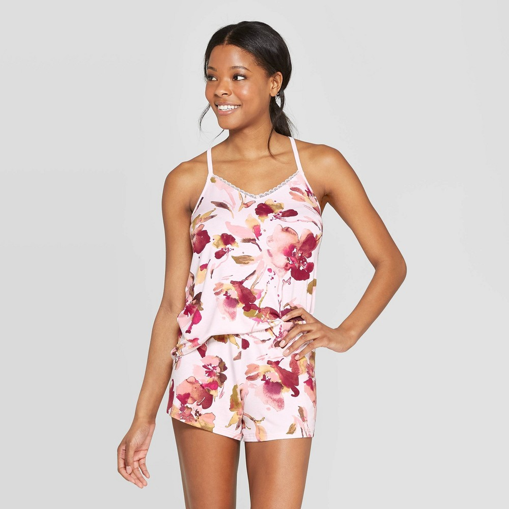 Best Review Women Floral Print Beautifully Soft Cami And Short Pajama Set Stars Above Pink XS