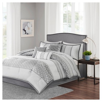 William Greek Key Print Comforter Set (Queen)Gray - 7pc