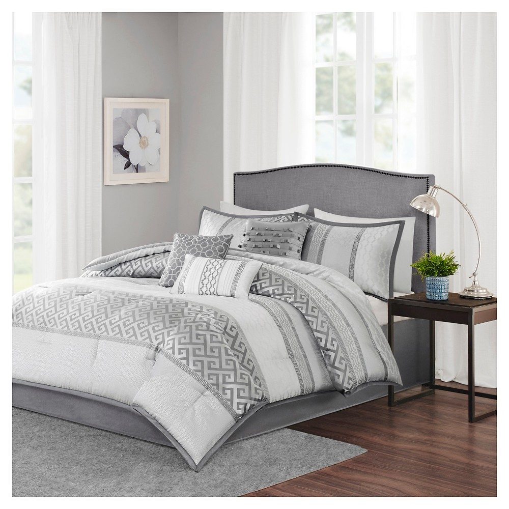 William Greek Key Print Comforter Set (King) Gray - 7pc